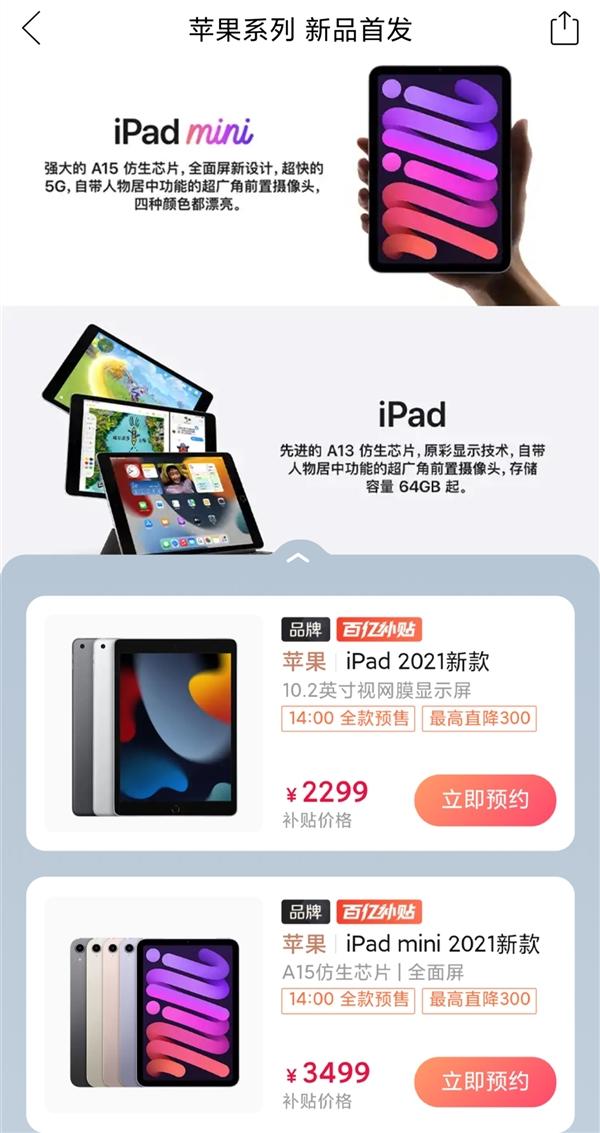 拼多多百亿补贴上架iPad mini 6、iPad 9:比官网便宜300元