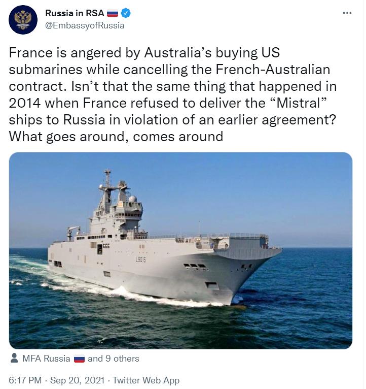 """被美英澳""""捅刀"""",法国又被俄罗斯使馆讽刺:""""一报还一报"""""""