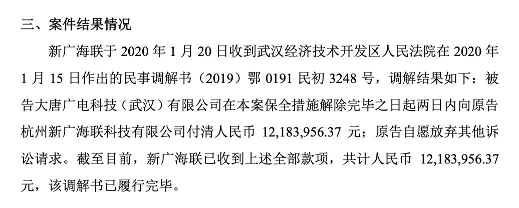 新智视讯子公司因合同纠纷提起诉讼已收到设备款1218万元