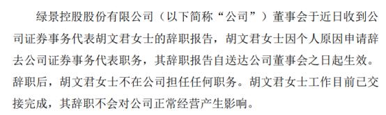 绿景控股证券事务代表胡文君辞职因个人原因